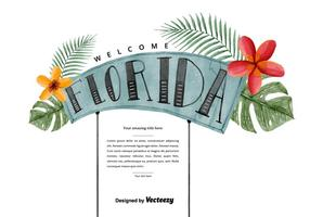 Free Florida Welcome Watercolor Vector