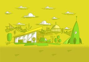 Vecteur de paysage futur du milieu du siècle