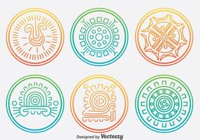 Incas Circle Ornament Vector Set