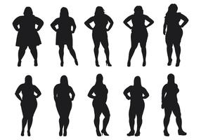 Fat Women Silhouettes Vector