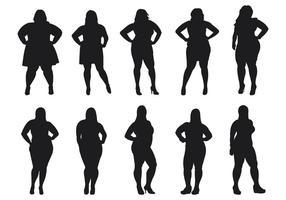 Feta kvinnor silhuetter vektor