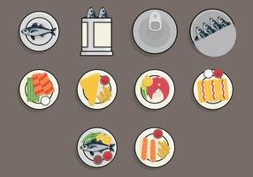 Fish Fry Food Icon Set