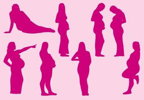 Pregnant Women Silhouettes vector