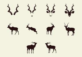 Kudu Silhouette Icon Set