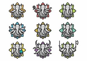 Minimalistisches Ganesh Icon Set