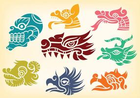 Decorative Quetzalcoatl Icons Vector