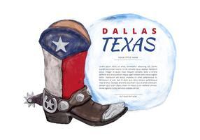 Texas Boot Watercolor Vector