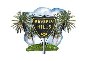Free Beverly Hills Watercolor Vector