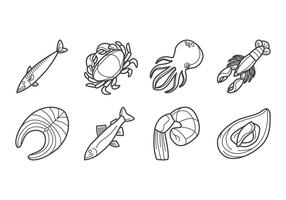Raw Seafood Icon vector