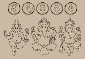 Ganesha Outline Symbol vector
