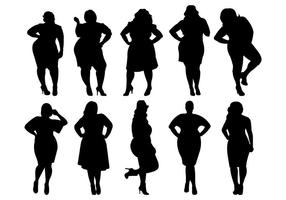 Vetor de silhuetas de mulheres gordas
