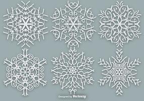 Copos de nieve ornamentado blanco - elementos vectoriales