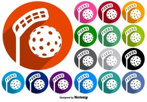 Vector Set Buttons Met Floorball Pictogrammen