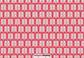 Vector patrón sin fisuras con símbolo de doble felicidad