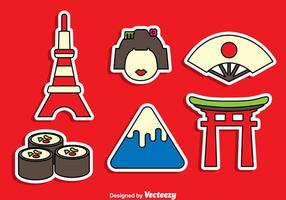 Japanese Sticker Vector Set