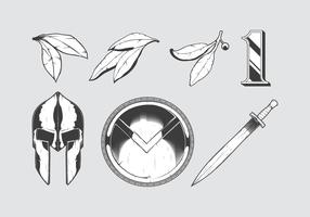 Set of etched spartan warrior elements vector