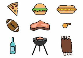 Minimalista Tailgate Icon Set vector