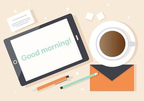 Good Morning Tablet Vector Illustration