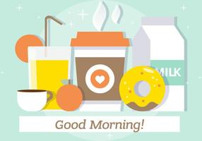 Gratis Flat Breakfast Vector Illustratie