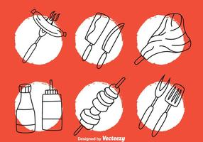 Barbecue Hand Drawn Icons vector