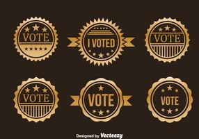 Insieme di vettore del distintivo dell'oro di elezioni presidenziali
