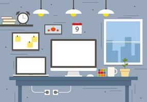 Modern Business Workspace Concept Vector Illustration