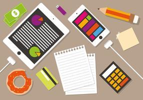 Online Business Manager Workspace Vector Illustration