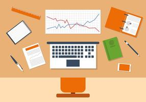 Oranje Business Manager Workspace Vector Illustratie