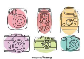 Hand getekende camera collectie vector