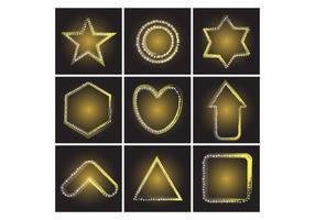 Formes variées gratuites de vecteur étoile en néon jaune d'or jaune