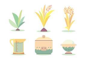Ensemble vectoriel de cycle de cuisson au riz