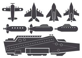 Silhouette AIrcraft Carrier and Jet Aircraft Vector