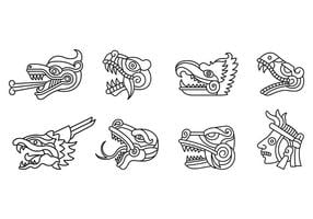 Set Of Quetzalcoatl Symbol Vector