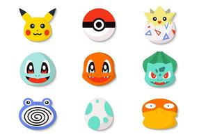 Free Pokemon Icons und Pokeball Vektor