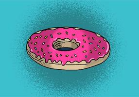 Doughnut with pink icing & sprinkles vector