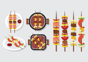 Brochette Kebab Skewers Iconos Vector
