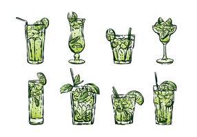Vecteurs de la caipirinha dessinés à la main