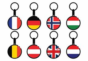 Free Europe Country Flag Key Chains Vector