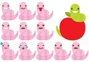 Earthworm Emoticons vector