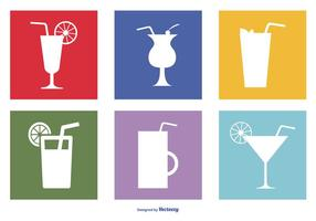 Assortiment drankjes icon set