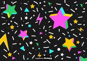 Fundo abstrato do vetor de estrelas e confetes 3D coloridos