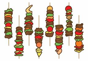 Flat Brochette Illustration Set