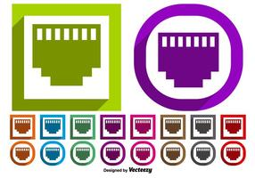 Vector Set Of Ethernet Port Symbol Buttons