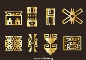 Golden Incas Icons Vector