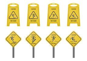 Sinal de aviso para piso molhado