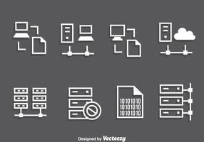 Server rack witte pictogrammen vector