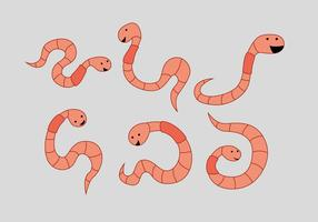 Cute Earthworms Vector