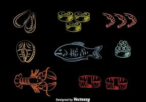 Seafood Line Icons Vector