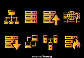 Server Rack Gradient Icons Vector