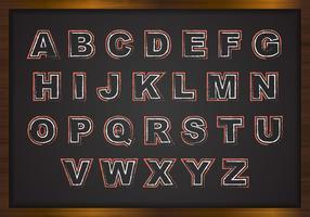 Gratis Chalk Alfabet På Svart Styrelse Vector